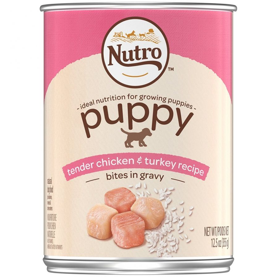 Nutro Large Breed Puppy Tender Chicken & Turkey Recipe Bites In Gravy Canned Dog Food