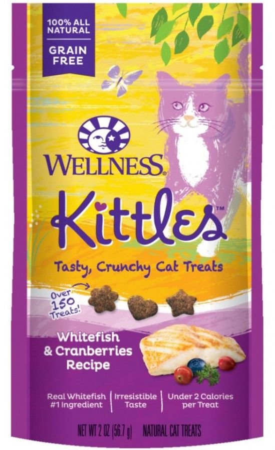 Wellness Kittles Grain Free Whitefish and Cranberries Recipe Crunchy Cat Treats